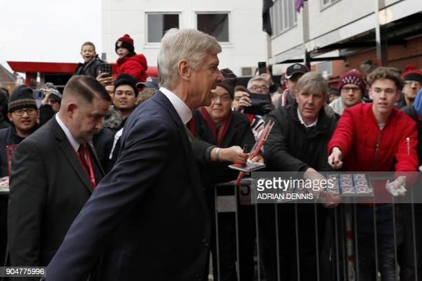 Arsenal's French manager Arsene Wenger arrives for the English Premier League football match between Bournemouth and Arsenal at the Vitality Stadium...