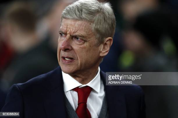 Arsenal's French manager Arsene Wenger arrives for the second leg of the Europa League Round of 32 football match between Arsenal and Ostersunds at...