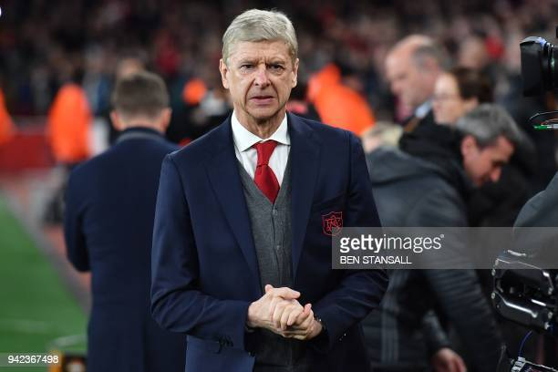 Arsenal's French manager Arsene Wenger arrives for the UEFA Europa League first leg quarterfinal football match between Arsenal and CSKA Moscow at...