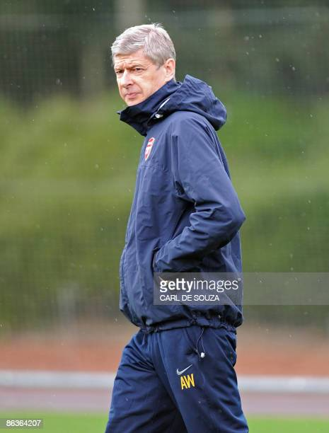 Arsenal's French Manager Arsene Wenger arrives for training session at their grounds in London Colney, in north London on May 4, 2009. Arsenal will...