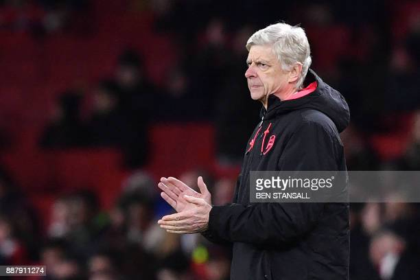 Arsenal's French manager Arsene Wenger gestures during the Europa League Group H stage football match between Arsenal and Bate Borisov at the...