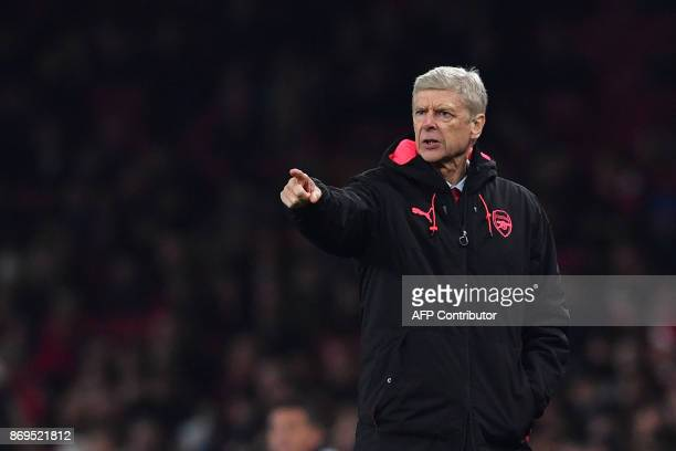 Arsenal's French manager Arsene Wenger gestures during the UEFA Europa League Group H football match between Arsenal and Red Star Belgrade at The...