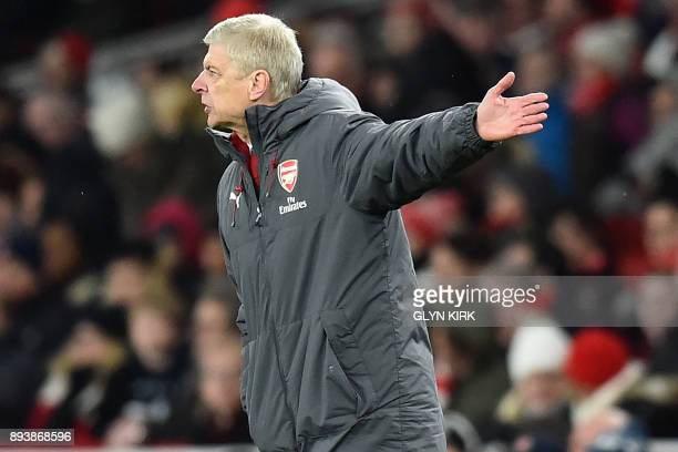 Arsenal's French manager Arsene Wenger gestures on the touchline during the English Premier League football match between Arsenal and Newcastle...
