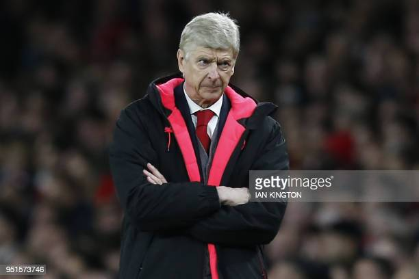 Arsenal's French manager Arsene Wenger gestures on the touchline during the UEFA Europa League first leg semifinal football match between Arsenal and...