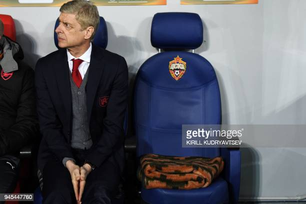 Arsenal's French manager Arsene Wenger is pictured before the UEFA Europa League quarterfinal second leg football match between CSKA Moscow and...
