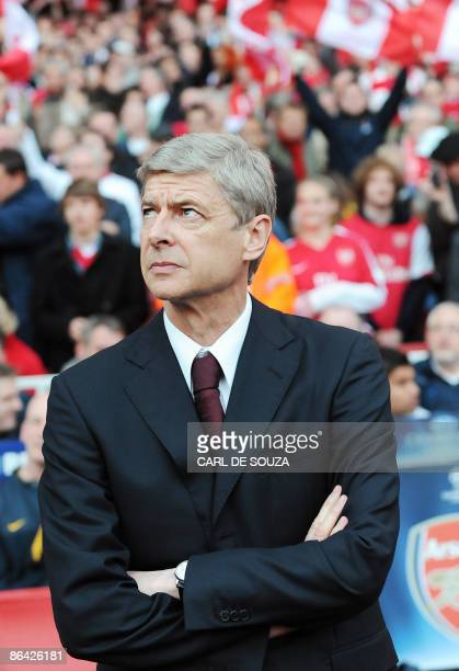 Arsenal's French manager Arsene Wenger is pictured before their UEFA Champions League semi final second leg football match against Manchester United...