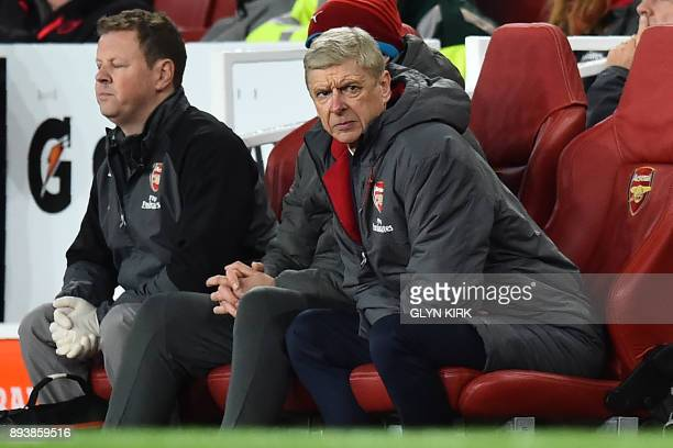 Arsenal's French manager Arsene Wenger looks on during the English Premier League football match between Arsenal and Newcastle United at the Emirates...