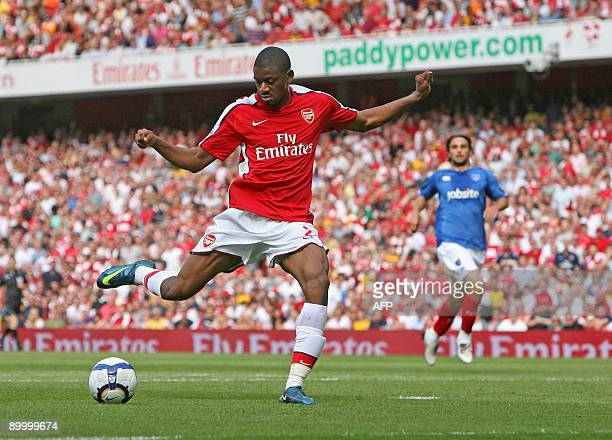 Arsenal's French midfiedler Abou Diaby scores his second goal during the Premier League football match between Arsenal and Portsmouth at The Emirates...