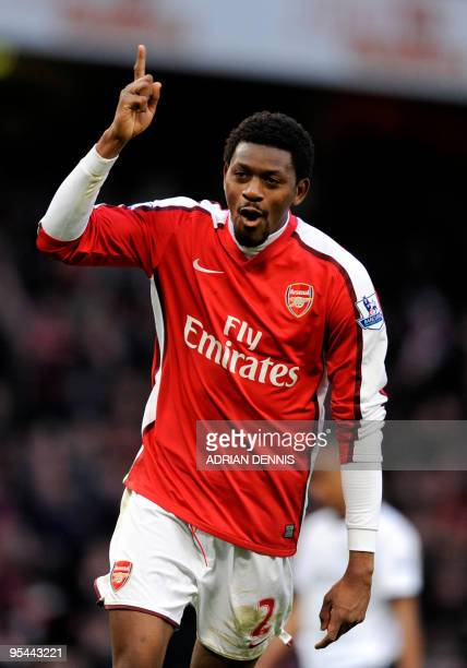 Arsenal's French midfielder Abou Diaby celebrates scoring the third goal against Aston Villa during the Premiership match at The Emirates Stadium in...