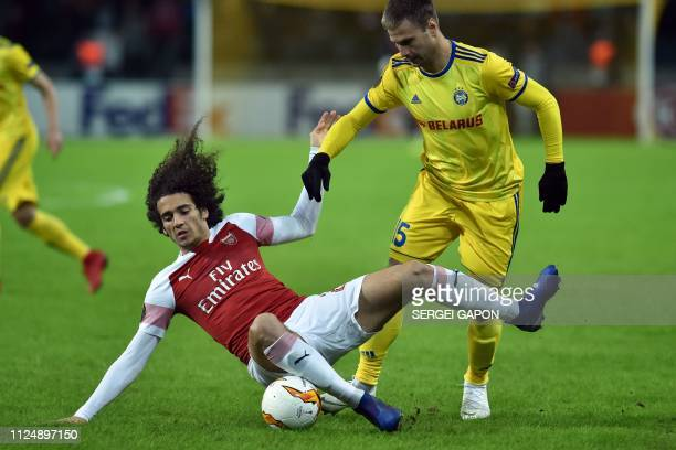 Arsenal's French midfielder Matteo Guendouzi and BATE Borisov's Belarusian striker Maksim Skavysh vie for the ball during the UEFA Europa League...