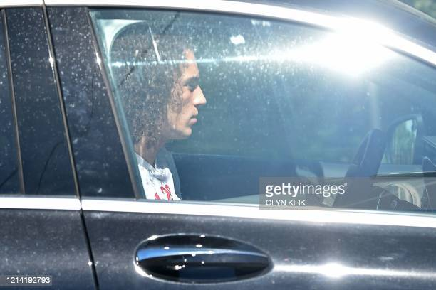 Arsenal's French midfielder Matteo Guendouzi arrives at at Arsenal's Colney training centre north of London on May 20 2020 as training continues for...