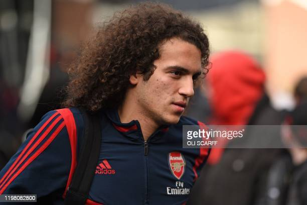 Arsenal's French midfielder Matteo Guendouzi arrives at the ground ahead of the English Premier League football match between Burnley and Arsenal at...