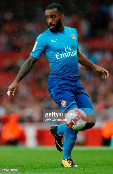 Arsenal's French striker Alexandre Lacazette controls the ball during the preseason friendly football match between Arsenal and Benfica at The...