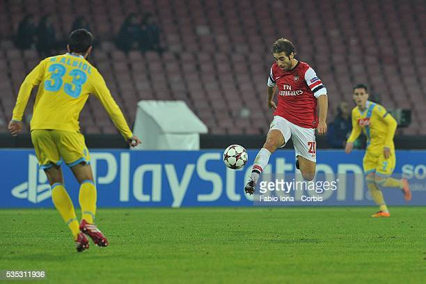 Arsenal's French striker Matieu Flamini controls the ball during the UEFA Champion's League group F football match between SSC Napoli and Arsenal FC...
