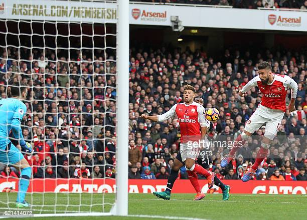 Arsenal's French striker Olivier Giroud attempts a shot on goal but fails to score during the English Premier League football match between Arsenal...