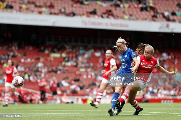 Arsenal's Freya Jupp shoots to score a goal during the pre-season friendly women's football match between Arsenal and Chelsea at The Emirates Stadium...