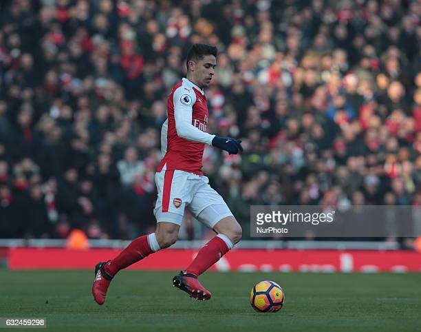 Arsenal's Gabriel Paulista during the Premier League match between Arsenal and Burnley at The Emirates Stadium London on 22 Jan 2017