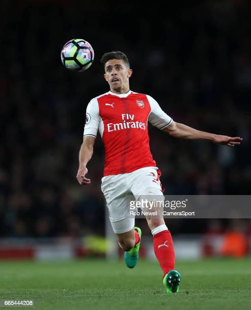 Arsenal's Gabriel Paulista during the Premier League match between Arsenal and West Ham United at Emirates Stadium on April 5 2017 in London England