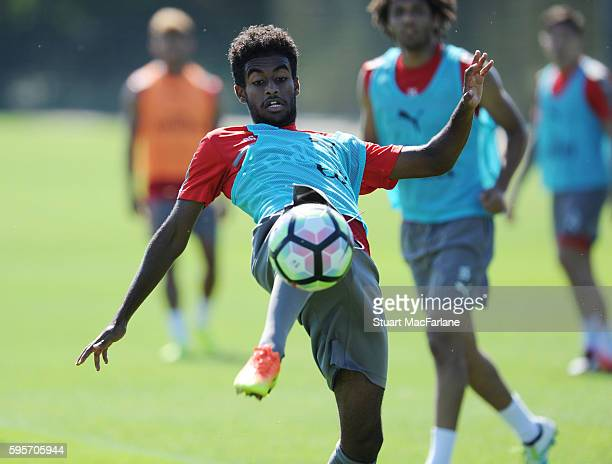 Arsenal's Gedion Zelalem during a training session at London Colney on August 26 2016 in St Albans England