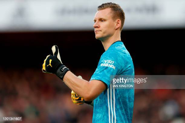 Arsenal's German goalkeeper Bernd Leno gestures during the English Premier League football match between Arsenal and Newcastle United at the Emirates...