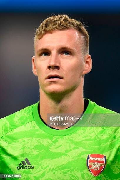 Arsenal's German goalkeeper Bernd Leno looks on during the English Premier League football match between Manchester City and Arsenal at the Etihad...