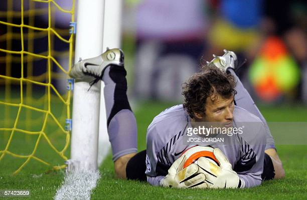 Arsenal's German goalkeeper Jens Lehmann collects the ball during their Champions League semifinal second leg football match against Villarreal at...