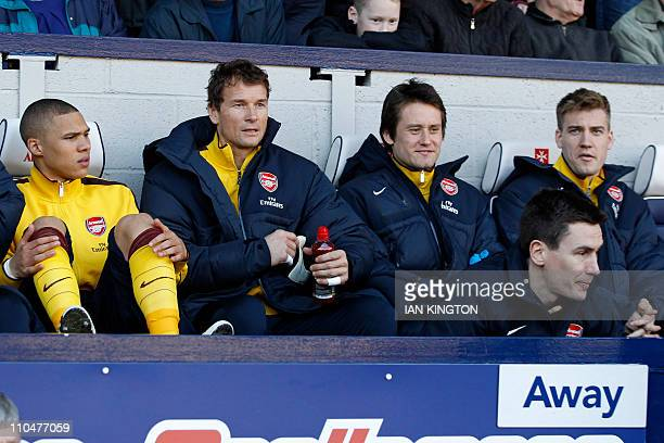 Arsenal's German goalkeeper Jens Lehmann on the substitute's bench for the English Premier League football match between West Bromwich Albion and...