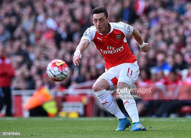 Arsenal's German midfielder Mesut Ozil controls the ball during the English Premier League football match between Arsenal and Crystal Palace at the...