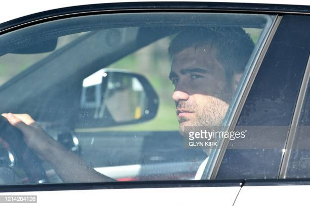 Arsenal's Germanborn Bosnian defender Sead Kolasinac leaves Arsenal's Colney training centre north of London on May 20 2020 as training continues for...