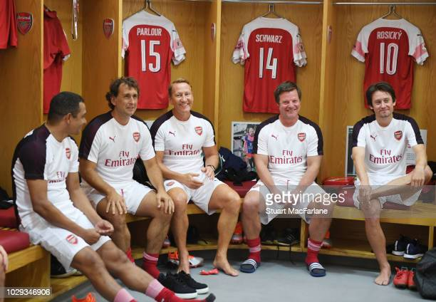 Arsenal's Gilberto, Gilles Grimandi, Ray Parlour, Stefan Schwarz and Tomas Rosicky smile in the home changing room before the match between Arsenal...