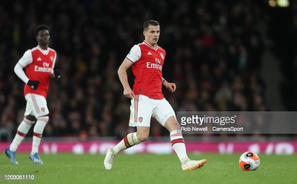 Arsenal's Granit Xhaka during the Premier League match between Arsenal FC and Everton FC at Emirates Stadium on February 23 2020 in London United...