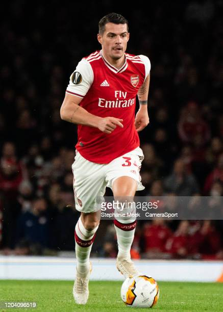 Arsenal's Granit Xhaka during the UEFA Europa League round of 32 second leg match between Arsenal FC and Olympiacos FC at Emirates Stadium on...