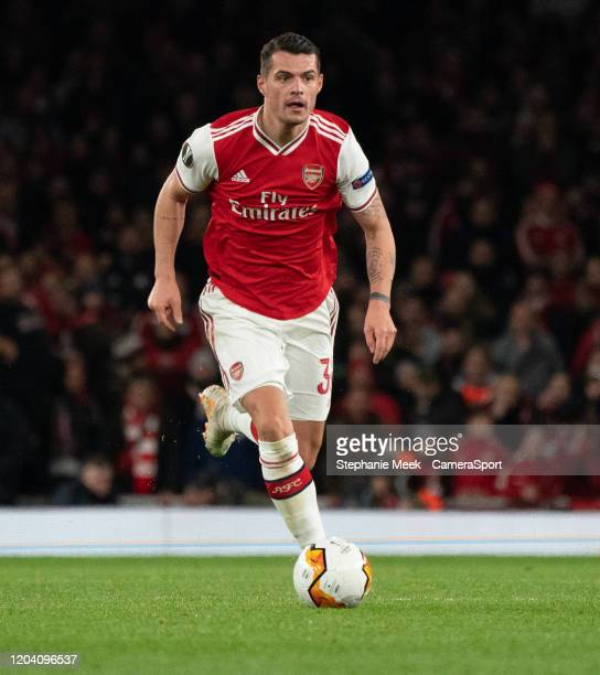 Arsenals Granit Xhaka during the UEFA Europa League round of 32 second leg match between Arsenal FC and Olympiacos FC at Emirates Stadium on February...