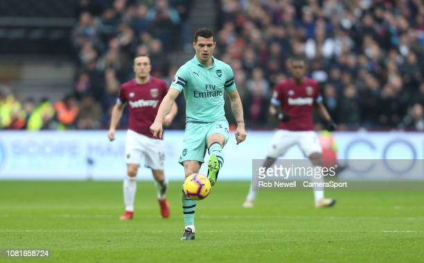 Arsenal's GranitXhaka during the Premier League match between West Ham United and Arsenal FC at London Stadium on January 12 2019 in London United...