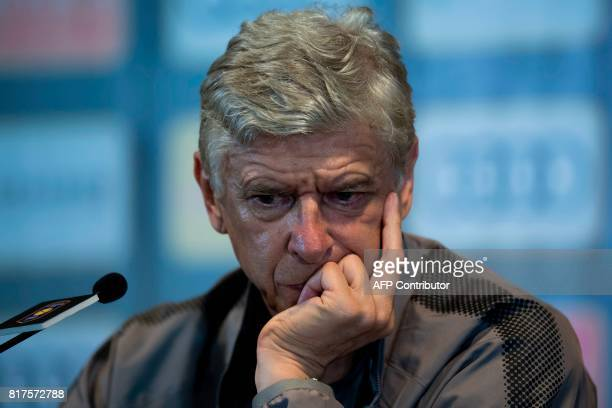 Arsenal's head coach Arsene Wenger attends a press conference ahead of the International Champions Cup football match between Bayern Munich and...
