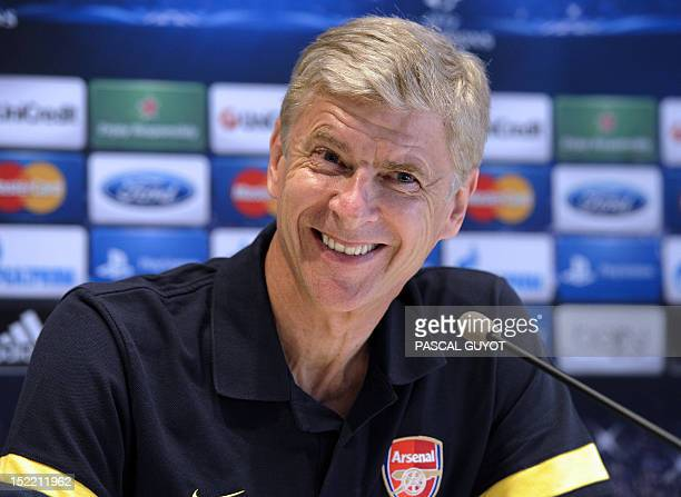 Arsenal's head coach Arsene Wenger gives a press conference in Montpellier southern France on September 17 on the eve of the UEFA Champions League...