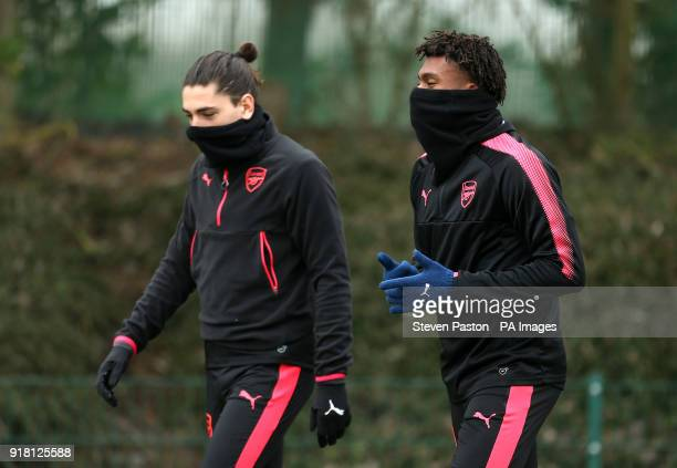 Arsenals' Hector Bellerin and Alex Iwobi during the training session at London Colney Hertfordshire PRESS ASSOCIATION Photo Picture date Wednesday...