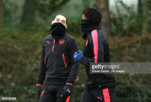 Arsenals' Hector Bellerin and Alex Iwobi during the training session at London Colney Hertfordshire