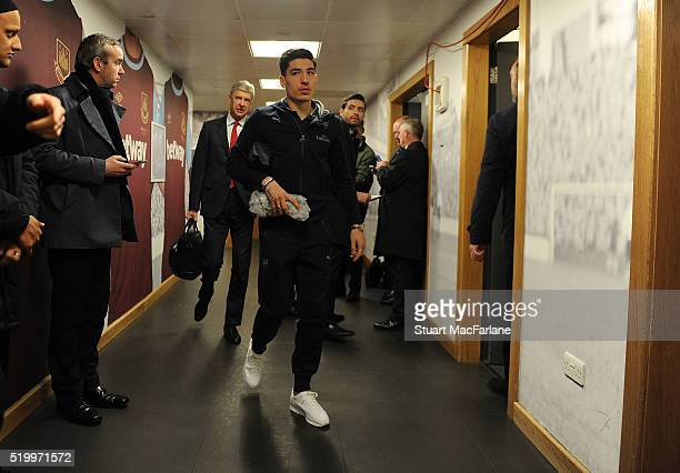 Arsenal's Hector Bellerin arrives ahead of the Barclays Premier League match between West Ham United and Arsenal at the Boleyn Ground on April 9 2016...