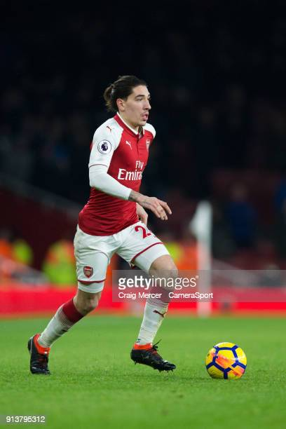 Arsenal's Hector Bellerin in action during the Premier League match between Arsenal and Everton at Emirates Stadium on February 3 2018 in London...