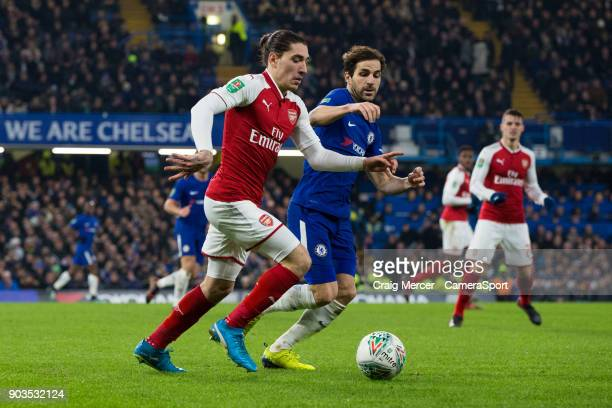 Arsenal's Hector Bellerin takes on Chelsea's Cesc Fabregas during the Carabao Cup SemiFinal First Leg match between Chelsea and Arsenal at Stamford...