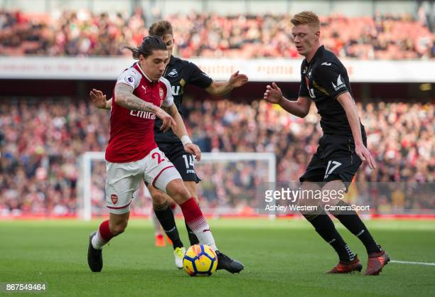 Arsenal's Hector Bellerin takes on Swansea City's Sam Clucas during the Premier League match between Arsenal and Swansea City at Emirates Stadium on...