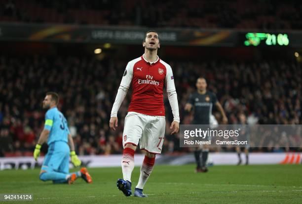 Arsenal's Henrikh Mkhitaryan after a near miss during the UEFA Europa League quarter final leg one match between Arsenal FC and CSKA Moskva at...