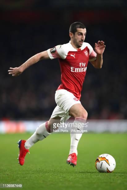 Arsenal's Henrikh Mkhitaryan during the UEFA Europa League round of 32 second leg match at the Emirates Stadium London