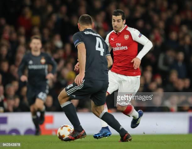 Arsenal's Henrikh Mkhitaryan during UEFA Europa League Quarter Final 1st Leg match between Arsenal and CSKA Moscow at The Emirates in London 05 April...