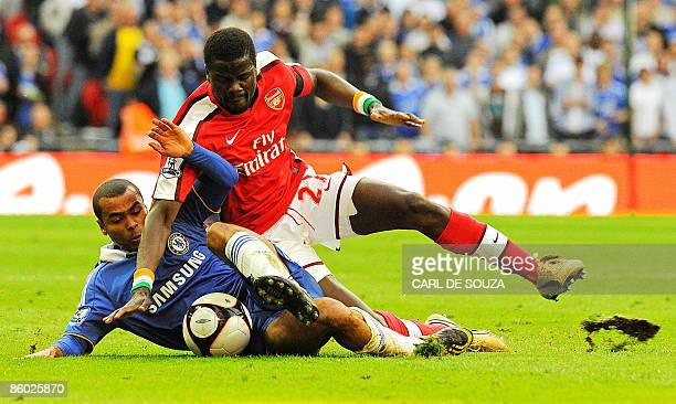 Arsenal's Ivorian defender Kolo Toure vies with Chelsea's Ashley Cole during the FA Cup SemiFinal football match at Wembley Stadium in London on...