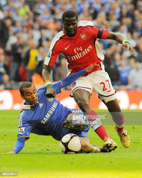 Arsenal's Ivoryan defender Kolo Toure vies with Chelsea's Ashley Cole during the FA Cup SemiFinal football match at Wembley Stadium in London on...