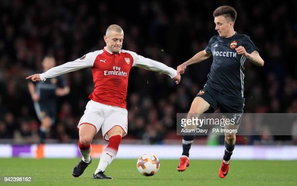 Arsenal's Jack Wilshere and CSKA Moscow's Alexandr Golovin battle for the ball during the UEFA Europa League quarter final first leg match at the...