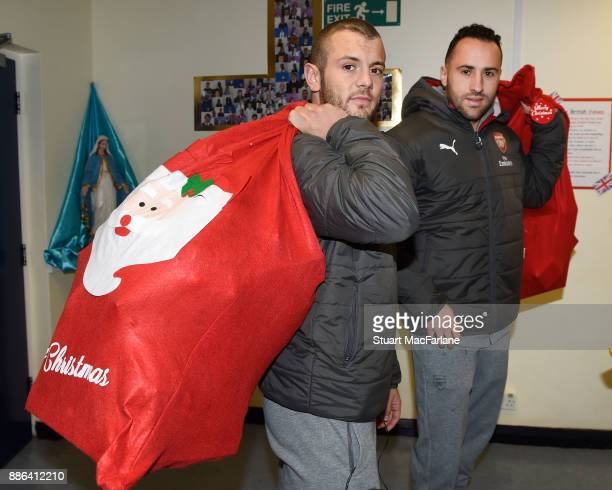 Arsenal's Jack Wilshere and David Ospina visit the Blessed Sacrament Primary School on December 5 2017 in London England