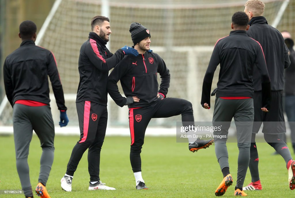 Arsenal's Jack Wilshere (middle) and team mates during the training session at London Colney, Hertfordshire.